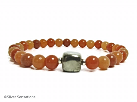 Multi Shade Orange Red Aventurine & Tumbled Pyrite Cube Bead Bracelet